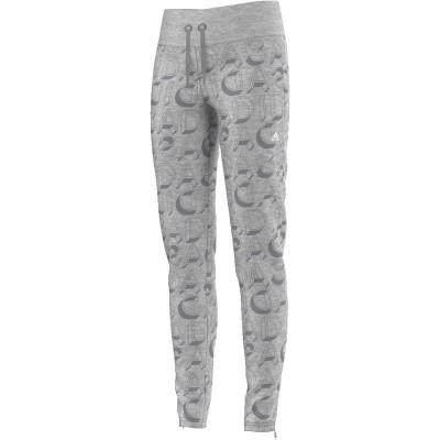 Pantaloni gri pentru femei Adidas YG AA AOP PANT / AY5379